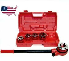 Pipe Threader With 5 Stock Dies Ratchet Handle Pluming Gas Construction Tools HD