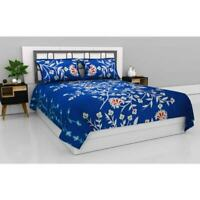Indian Microfiber Queen Size Double Bedsheet with 2 Pillow Covers - Azure Blooms