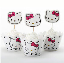 12x HELLO KITTY Children Brithday Cupcake Cake Wrapper & Toppers *NEW*