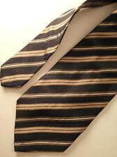 "CRAVATTA ""SPLENDORE"" VINTAGE 100 % SETA NERO-BLU RIGHE tie kravatte P5"