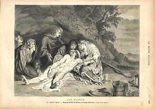 Christ mort par Pierre Paul Rubens Musée d'Anvers Flandre Belgique GRAVURE 1876