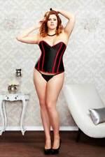iCollection Women's Demi Plunge Waist Cincher Bustier Corset, Red/Black, Size 46