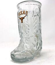 "Vintage Texas Longhorns Glass Boot Mug 6 1/2"" Tall"