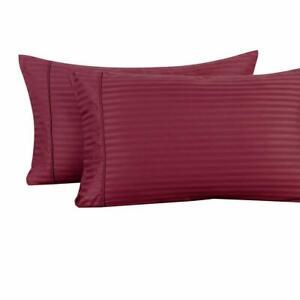 100% Cotton Pillowcases Pair Standard Or King Damask Striped Pillowcase Set