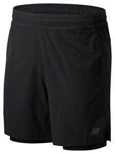 New Balance Men's Core 2 In 1 Woven 7 In Short Black