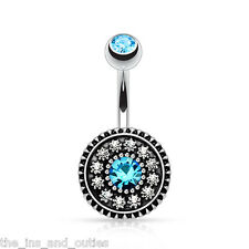 Vintage Shield Gem Belly Button Ring Navel Naval Dangle Body Piercing Jewelry