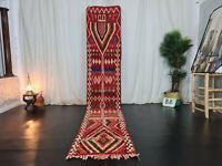 """Moroccan Boujad Handmade Vintage Runner 2'1""""x11'6"""" Berber Geometric Red Wool Rug"""