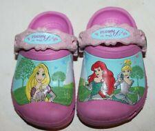 Disney Princess Pink Crocs Ariel, Rapunzel, and Cinderella Toddler Size 4-5