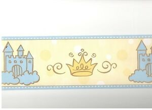 DISNEY PRINCESS CASTLE & tiara wallpaper border 15'  PREPASTED wall yellow/ blue