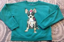 Chihuahua Puppy Dog Sweatshirt Sz M 7/8 Hanes Ecosmart Green Top Long-Sleeve