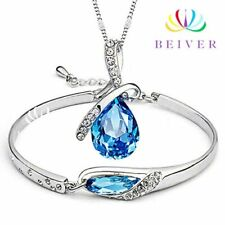 Aqua Blue Bangle Bracelet and Necklace