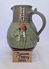 Baucum Pottery Water Pitcher - Slip Combing Stoneware Hand Made Oriental Flair