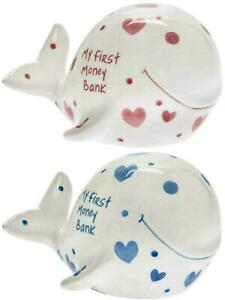 My First Piggy Bank Whale Shaped Kids Savings Pink/Blue Heart Money Coin Box