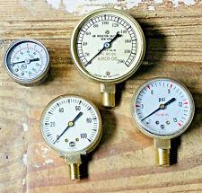 4 Vintage Brass Pressure Gauge Lot, Steampunk Lamp Parts, Antiique