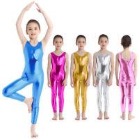 Kids Girls Metallic Sleeveless Catsuit Gymnastics Leotard Unitard Dance Costume