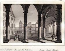 Torino: Palazzo del Valentino. Audot. Acciaio. Stampa Antica + Passepartout.1837