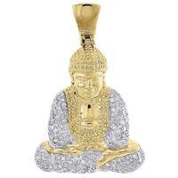 Diamond Buddha Pendant Mens 10K Yellow Gold Round Pave Meditation Charm 0.63 Tcw