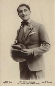 VINTAGE REAL PHOTO Mr Fred Barnes Bow Tie, Suit & Hat BEAGLES POSTCARD - UNUSED