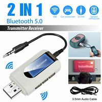 USB Bluetooth 5.0 Transmitter Receiver 2IN1 Wireless Audio 3.5mm Aux Adapter Car