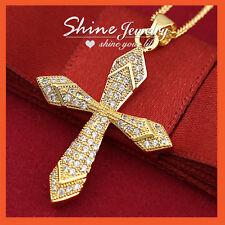 14k Gold GF Lab Diamonds Crucifix Cross Womens Mens Solid Necklace Pendant Gift