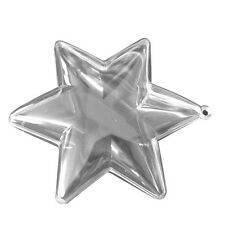"""12 Clear Plastic Ball STAR fillable Ornament favor 3.75"""" 6 points"""
