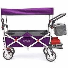 Push Pull SILVER SERIES Folding Wagon Stroller with Canopy | Purple