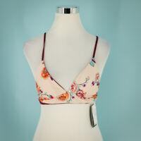 Mossimo Size Small S Floral Printed Bralette Bikini Top Plunge Neck Swimwear NWT
