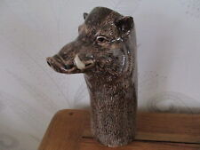 More details for fabulous large wild boar flower vase by quail pottery boxed great gift