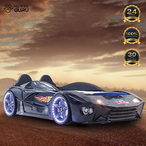 Kids New single Race Car bed  leather seat and Music/LEDlight 500W Speaker Black