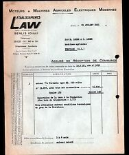 """SENLIS (60) MOTEURS & MACHINES AGRICOLES ELECTRIQUES """"LAW"""" 1951"""