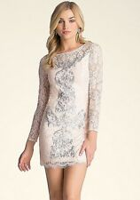 NWT $129 BEBE SIZE 2 and 4 XS LACE EMBROIDERED MINI DRESS PEACH petal silver