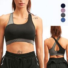 Women's Removable Padded Sports Bras Medium Support Workout Yoga Bra Crossback