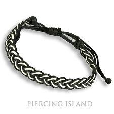 Armband Schwarz Weiß Cotton gewachste Baumwolle Bracelett Black White B142