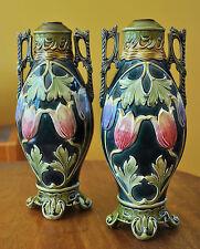 Superb Pair Antique Majolica Art Pottery Nouveau Lamp Bases Mantel Vases Tulips