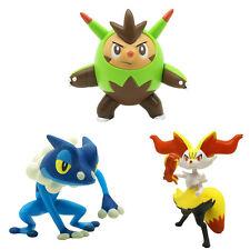 TOKARA TOMY Pokemon 3Pcs Set 25 Quilladin Braixen Frogadier Action Figure Toys