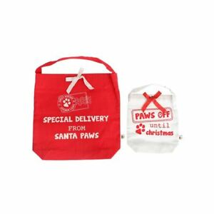 Paws Off Until Christmas Gift Bags Set 2 Red White Special Delivery Santa Paws