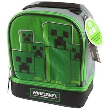 Minecraft School Soft Insulated Dual Lunch Box Tote Kit Bag Boys Kids Creeper