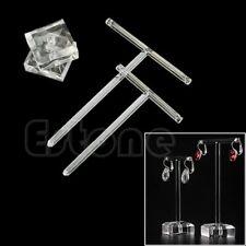 2Pcs Earrings Jewelry Display T Bar Stand Holder Rack Organic Glass…