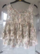 RIVER ISLAND CHIFFON LACE TIERED TOP SUMMER 6 CREAM FLORAL NEW NO TAGS