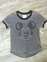 Disney Mickey Mouse Ringer Distressed Gray/Black Glitter Women's Small