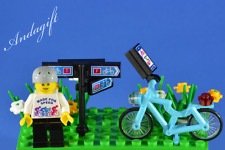 LEGO bicycle cycling scene blue bike minifigure cycle bicycle CUSTOM NEW SET