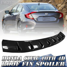 DX EX For Honda Glossy Black Civic 10th Sedan Rear Roof Fin Spoiler 16-17