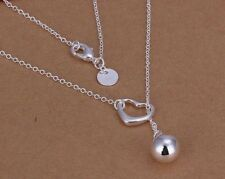 Silver Heart Necklace Lariat Choker Drop Bead Sterling 925 Dainty Simple
