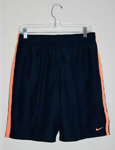 NWT Nike Men's Navy Blue w/ Orange Accents Elastic Waist Swim Trunks sz L