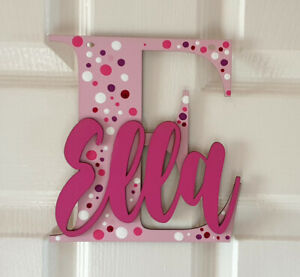 Wooden letters with personalised name for bedroom doors - walls or toy boxes ...