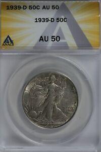 1939-D  50C ANACS   AU50   Walking Liberty, Lady Liberty Half, 0.50