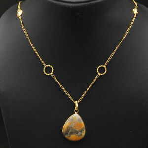 """Bumble bee Jasper Gold Plated Necklace 24"""" Gemstone Jewelry W19734"""
