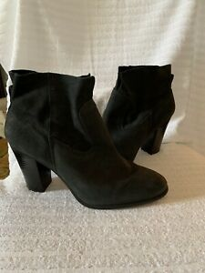 Vince Camuto Ankle Booties Womens 9.5M Feina Shoes Black Suede Leather