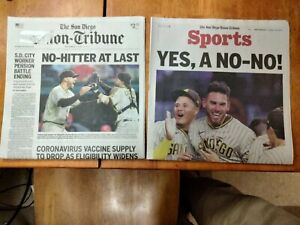 San Diego Union Tribune Padres Baseball No Hitter Front Page And Sports Page