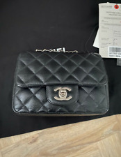 Chanel mini bag, black caviar leather  100% Authentic